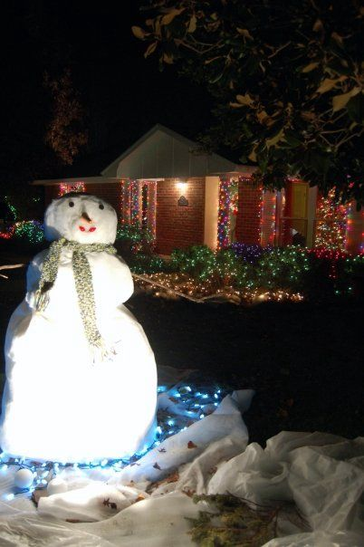 our fake yard snowman made out of polyester batting over chicken wire frame a young neighbor kid asked his parents why it only snowed at our house