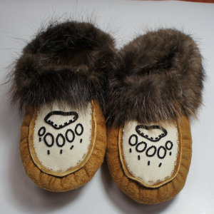 » Women s Size 3 Moosehide Moccasins with Bear Paw Print Beaded Design 7f37d04ee9