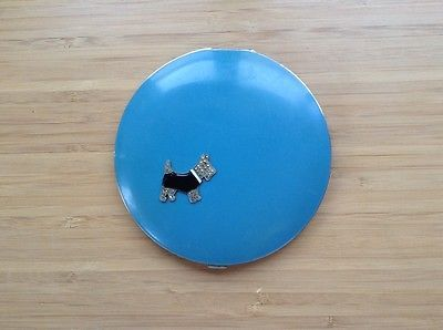 VINTAGE POWDER MIRROR COMPACT MARCASITE SCOTTIE DOG BLUE ENAMEL RARE & GORGEOUS