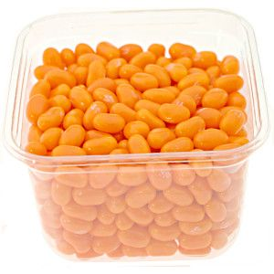 Jelly Belly Orange Sherbet jelly beans in a clear. re-sealable bulk tub with lid. Portable and convenient size for candy. Ice Cream