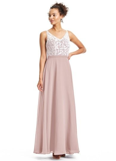91f25b6624f We are loving Gloria s romantic white lace overlay and amazing V-neckline.   Bridesmaid  Wedding  CustomDresses  AZAZIE
