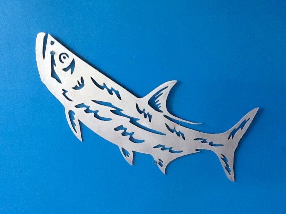 Metal gamefish sculpture. Simple tarpon.. Aluminum plasma cut sculpture.. Www.metalgamefish.com