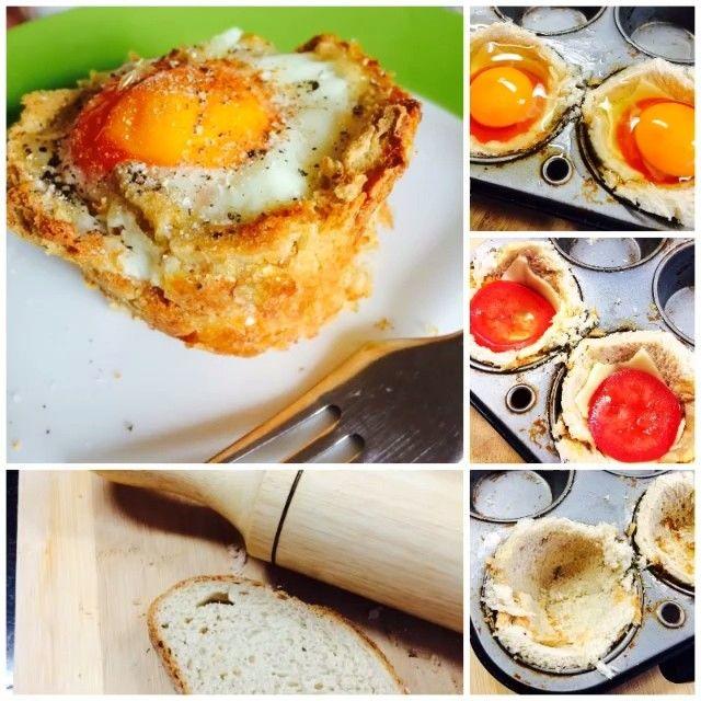 """""""Cheese, tomato, egg,bread cup. Deliciosa idea, para consentir a tu familia o amigos este fin de semana.- puedes hacer varios al tiempo - son horneados y por lo tanto bajos en grasa (solo requieres la de engrasar el molde) - puedes rellenar con lo que más te guste acompañar el huevo ( tocineta, jamón, champiñones, cebolla, etc) - son bonitos y divertidos de comer, especialmente para los niños. Yo usé pan de quinua y centeno, huevos orgánicos, queso finesse, y tomate. Horno por 25 min a…"""