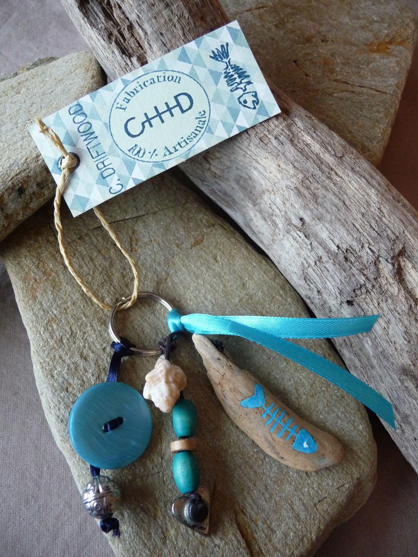 Porte clés et/ou bijou de sac en bois flotté bleu femme : Porte clés par c-driftwood