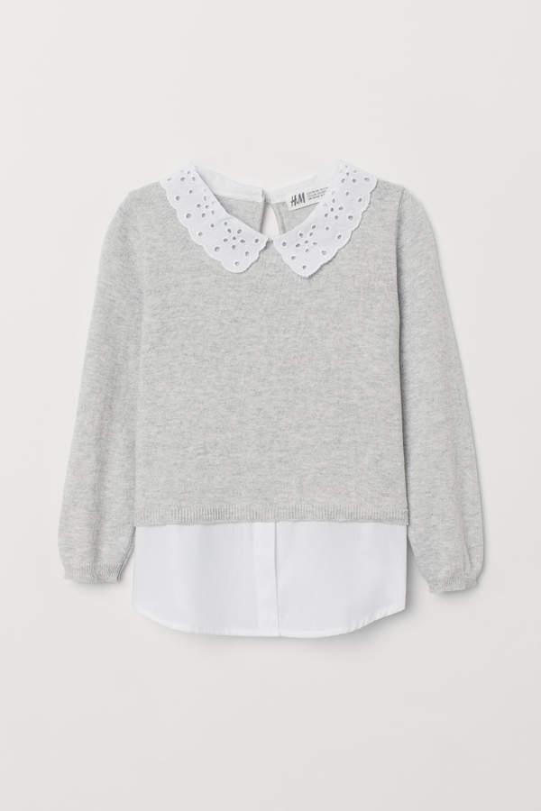 e98b32dda H M Fine-knit Sweater with Collar - Gray in 2019