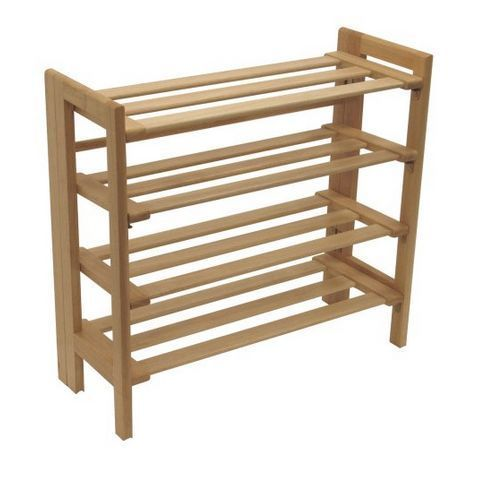 Wooden Shoe Rack Oragnizer Storage 4 Tier Shelf Standing Closet Household #WinsomeWood