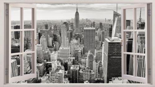 HUGE-3D-Window-new-york-home-art-Decal-wallpaper-Mural-NYC-Wall-sticker-NEW-W04