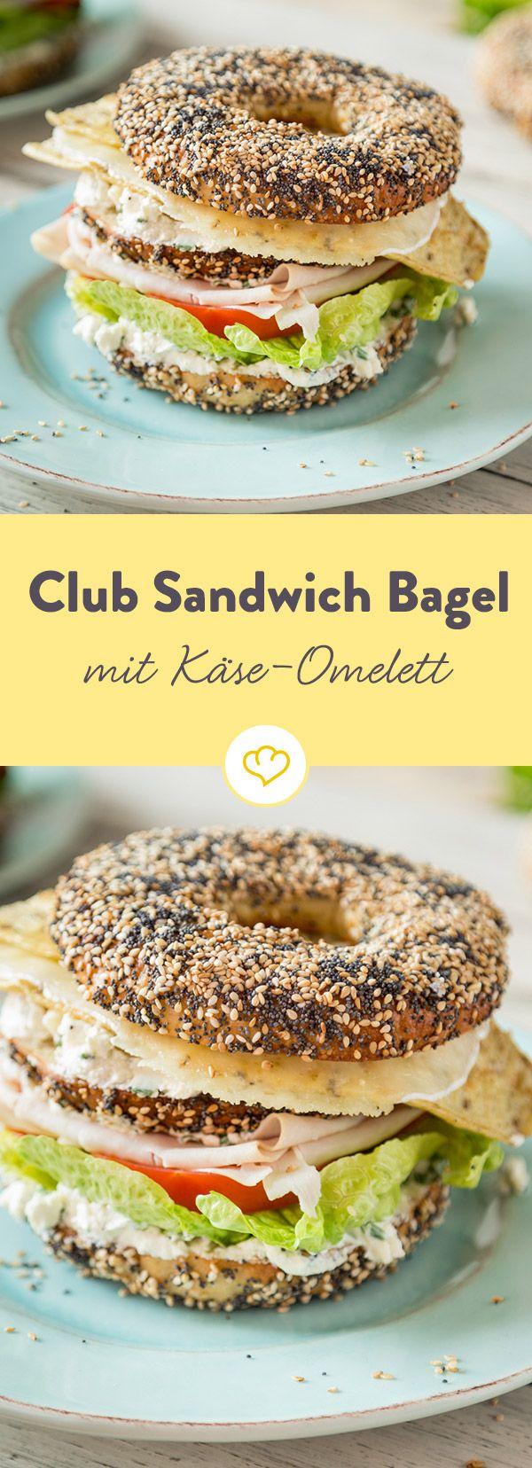 Hoch hinaus: Club Sandwich Bagels mit Käse-Omelett #sandwichrecipes