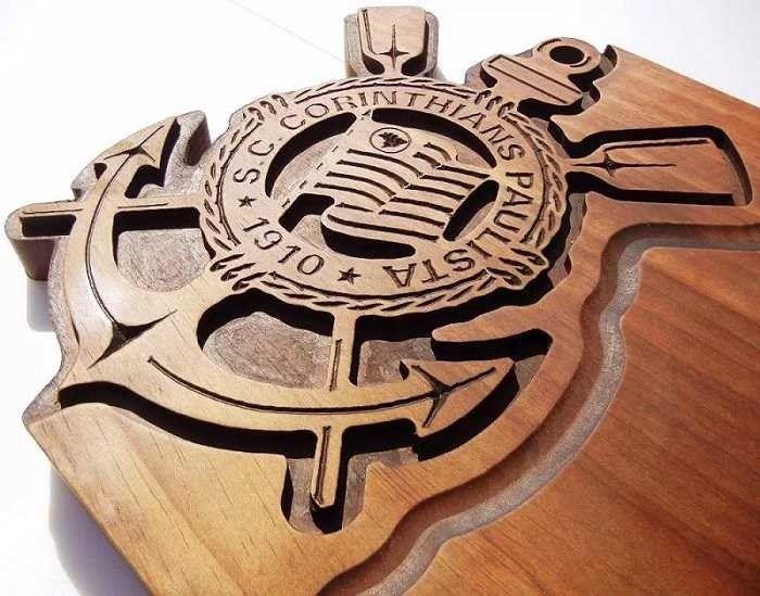 7ab7ec26b3 Tabua de carne de madeira do Corinthians escudo