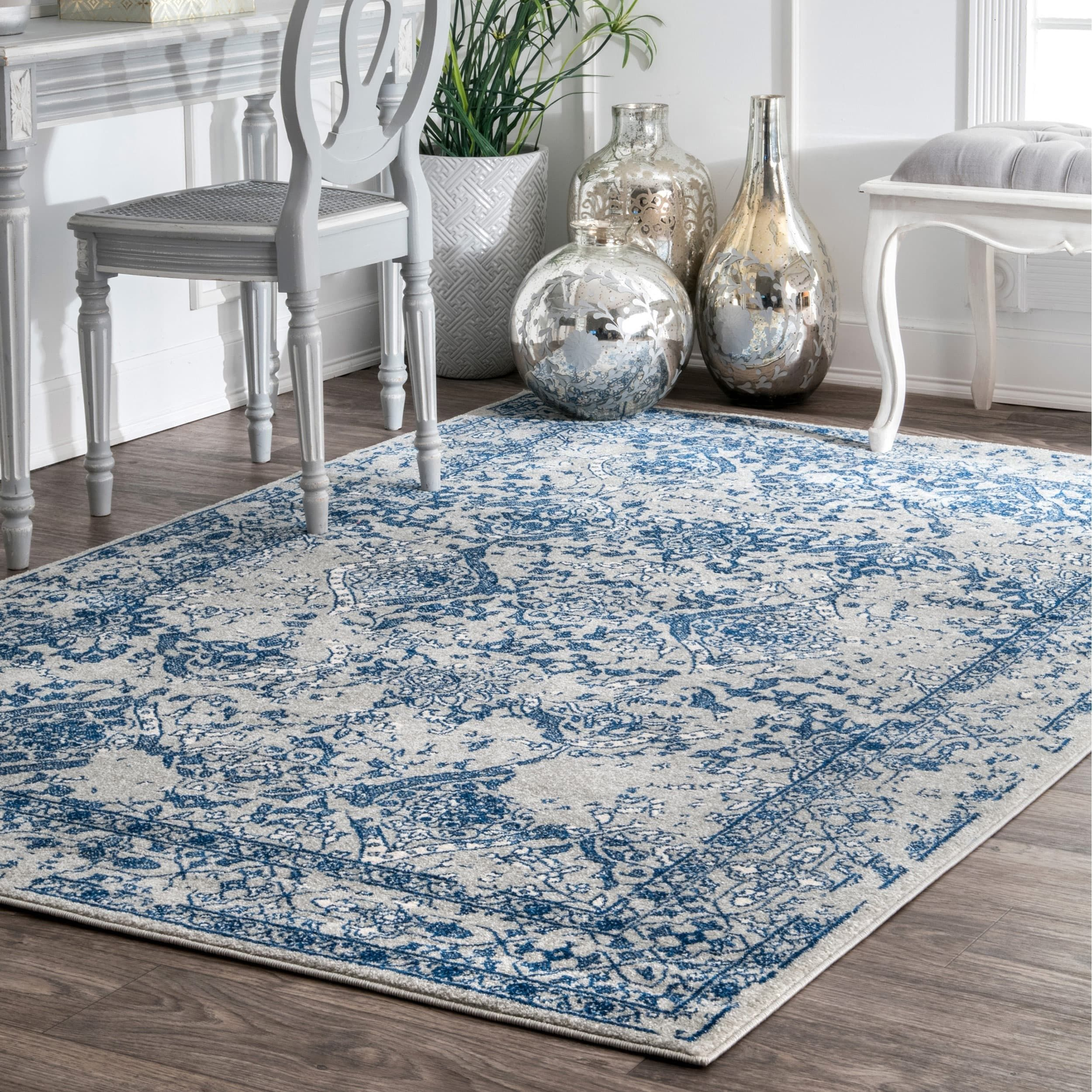 Nuloom Vintage Fl Ornament Light Blue Rug 8 X 10 Free Shipping Today 17681876