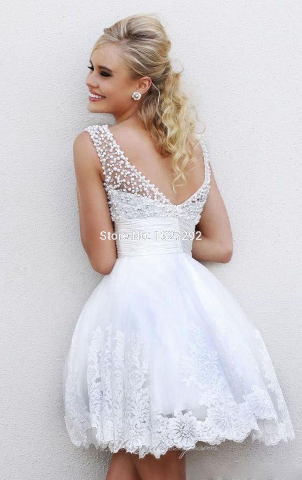 2015 Vestido De Noiva Curto Romantic Vintage White Ivory Pearls ... f923fd6b0945