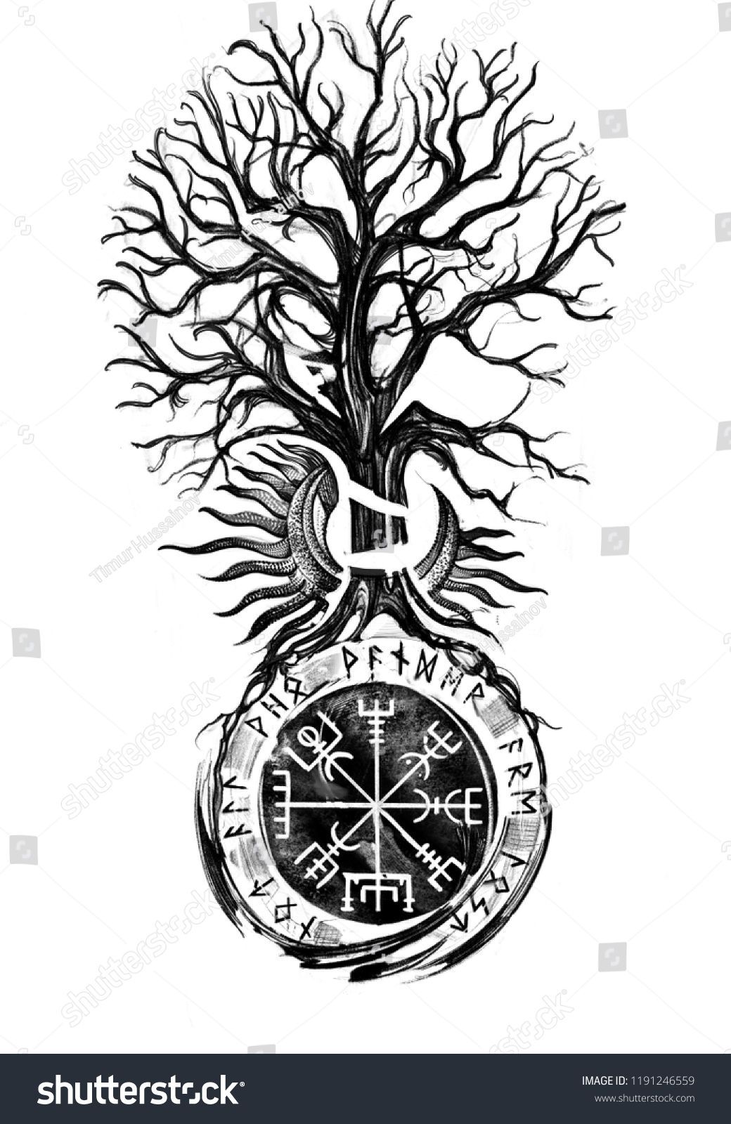 Viking Tree Traditional Vegvisir Historical Sun Stockillustration 1191246559