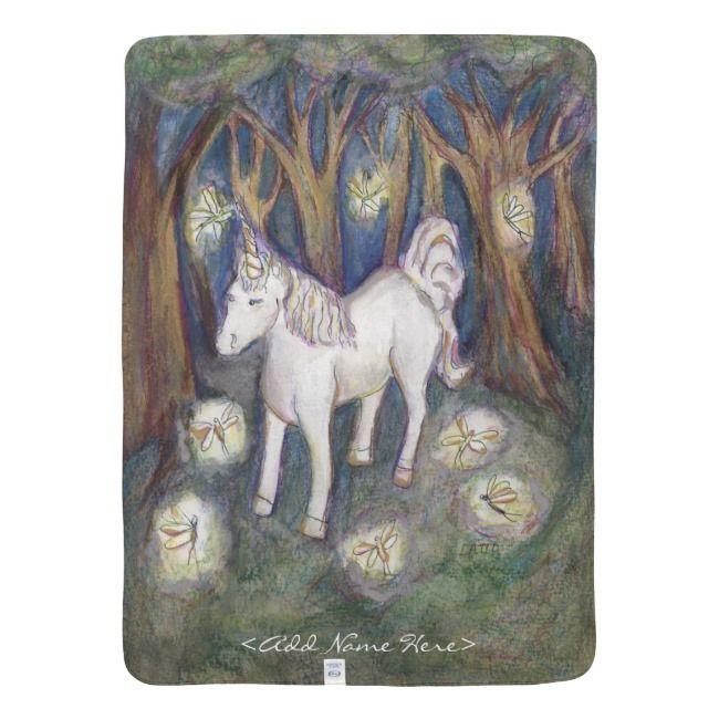 Unicorn Fairy Forest Art Custom Name Blankets #unicorn #unicorns #unicorn #unicornthrow #nursery #blanket #decor #babyblanket #nurserygift #babyshowergift #newparentgift #personalized #giftideas