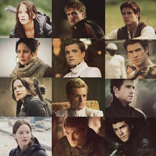 Katniss, Peeta and Gale throughout the films..