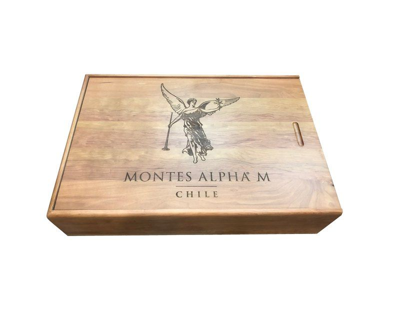 6 Btl Chile Montes Alpha Oak Wood Crate Wedding Decor Gift Etsy Wine Crate Paneling Wood Wine Box Wood Crates