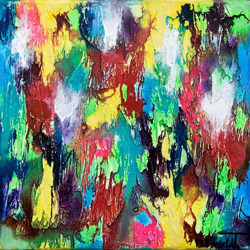 Alteration I Farverigt Abstrakt Maleri I Staerke Gronne Og Bla Farver Abstrakt Abstrakte Malerier Abstract Painting