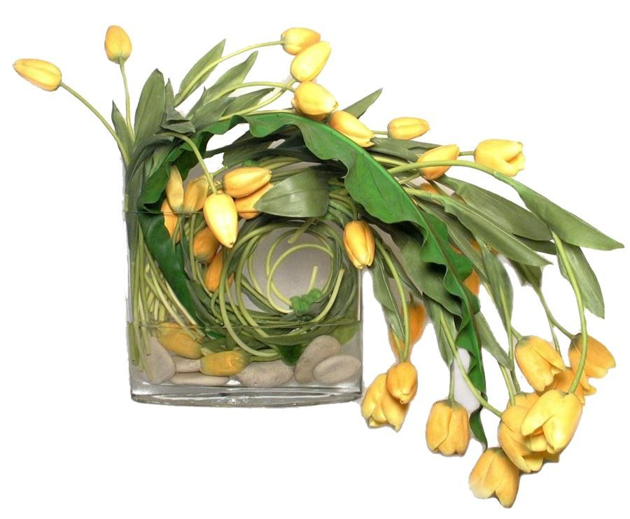 Yellow Tulips with White River Rocks in Oval Glass Vase with Resin