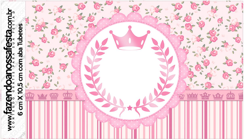 Rotulo Tubetes Coroa De Princesa Rosa Floral Com Imagens