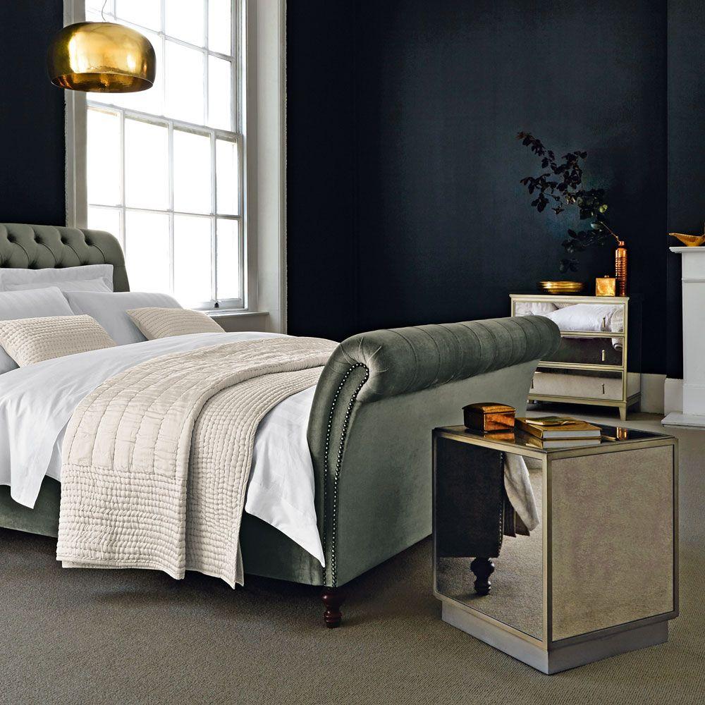 Velvet Gatsby bed from 1920's inspired style. Mirrored