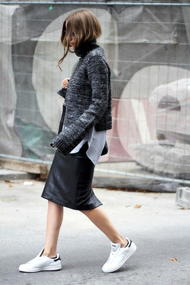 fall-layers-white-sneakers-addias-sneakers-black-leather-midi-skirt-pencil-skirt-sweater-over-shirt-striped-oxford-shirt-button-up-shirt-grey-sweater-black-scarf-fall-layers-fall-work-outfit-via-fashion-and-style-640x960.jpg (640×960)