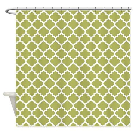 Olive Green Mod Quatrefoil Pattern Shower Curtain