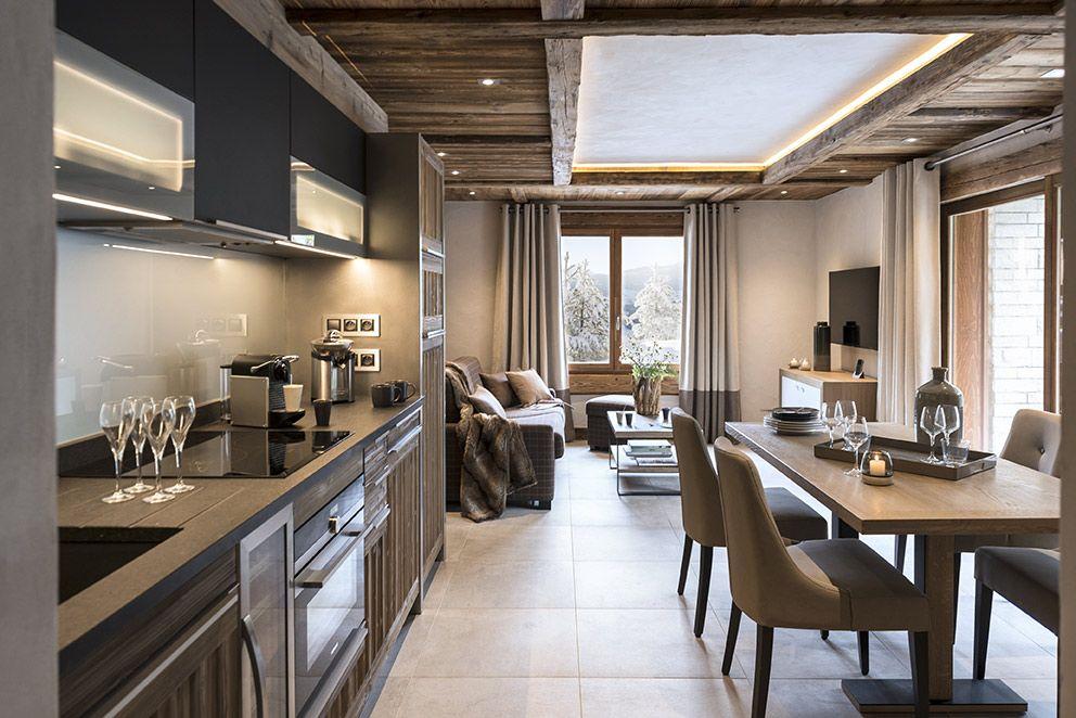 Cuisine am ricaine chalet montagne luxe moderne bois brut cuisine home decor room et - Cuisine americaine moderne ...
