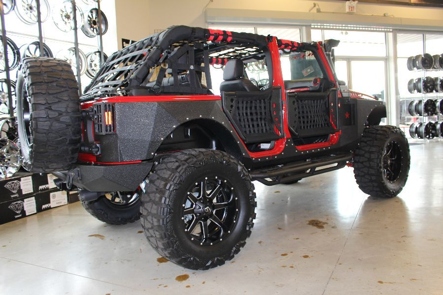 2014 RED JEEP WRANGLER UNLIMITED SPORT WITH 5.75″ LIFT AND