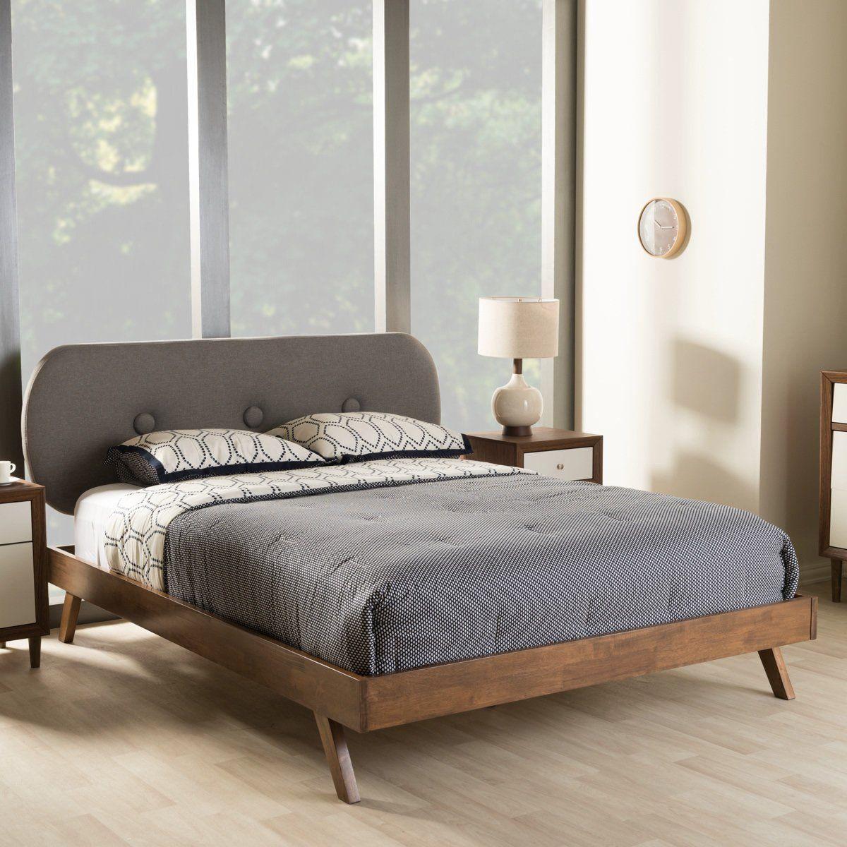 Best Baxton Studio Penelope Walnut Wood Grey King Size Platform 400 x 300