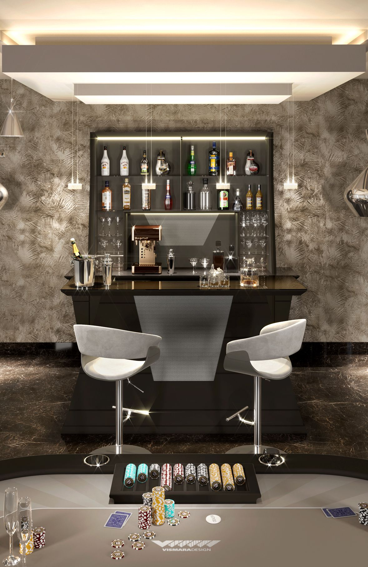 Bar furniture by Vismara Design, complete of all convenience like professional wine cellar, coffee machine and other usefull bar tools.