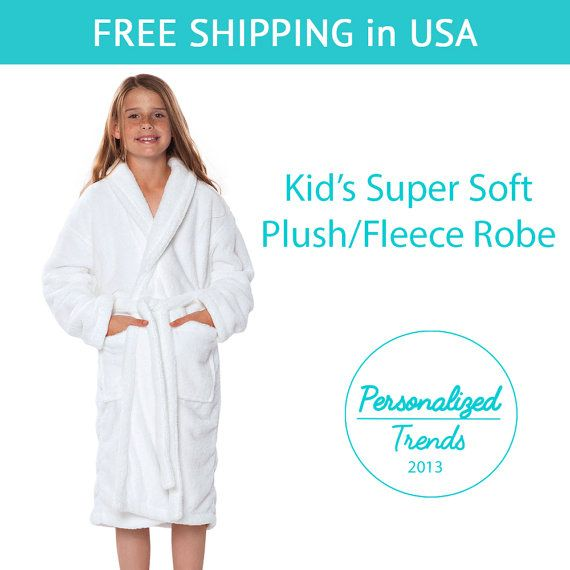 b40b6d0eff White Plush Fleece Kid s Robes Monogrammed by PersonalizedTrends ...
