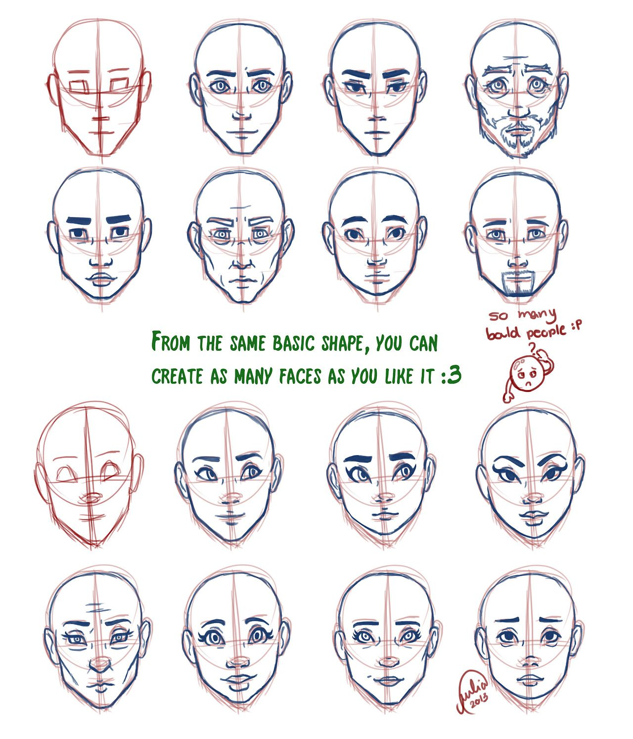 drawings of facial shapes