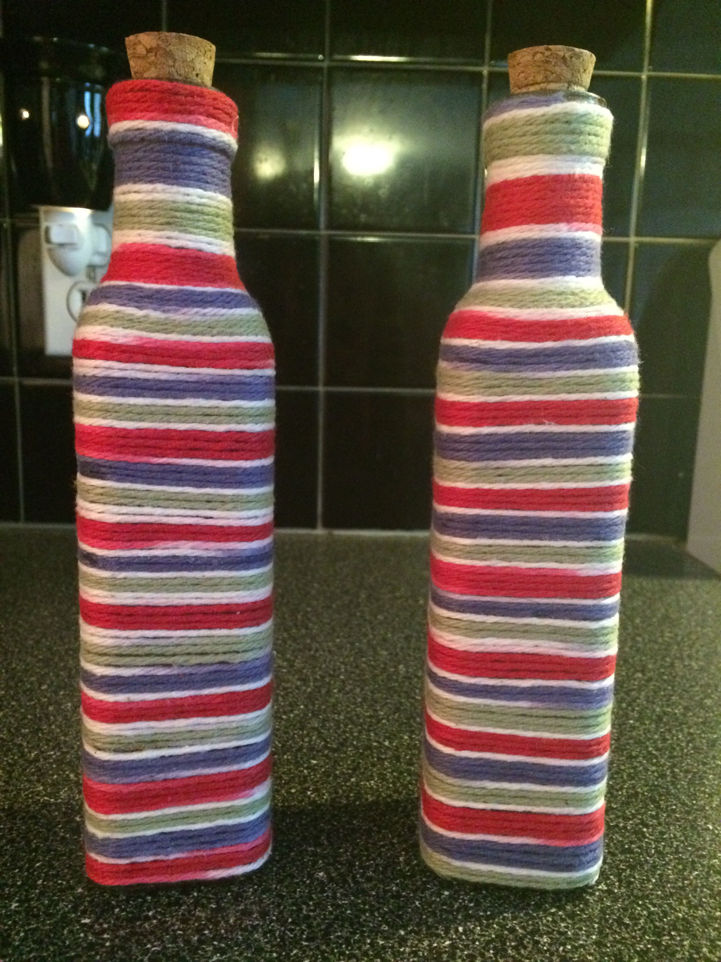 Yarn covered bottles