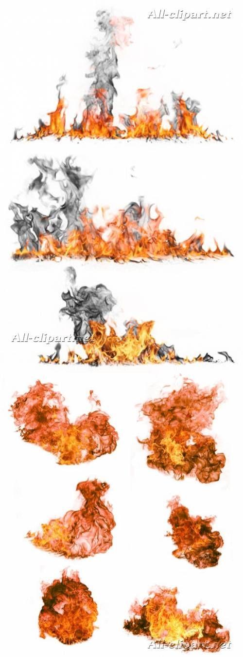 Огонь и пламя на белом фоне - клипарт | Fire | Огонь ...