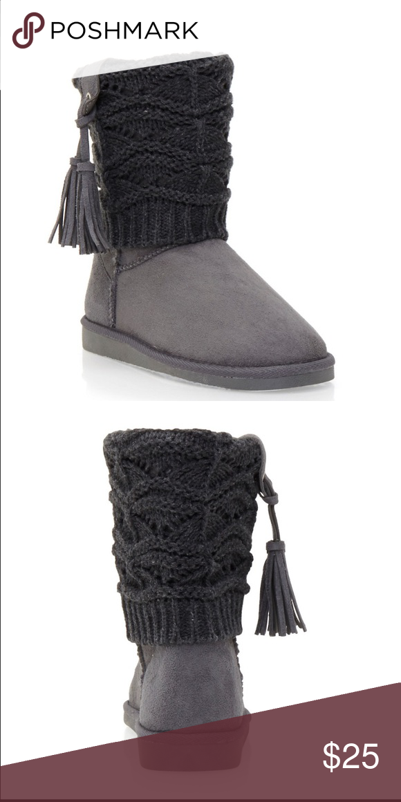 Faux Shearling Lined Boots with Knit Overlay Boot Round Toe, Flat  Crochet Item Measurements Heel Height: 1 inches Boot Shaft Height: 7 inches Shoes Winter & Rain Boots