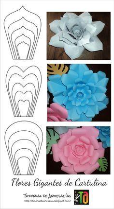 Flores Gigantes En Cartulina Flowers Flores De Papel Flores