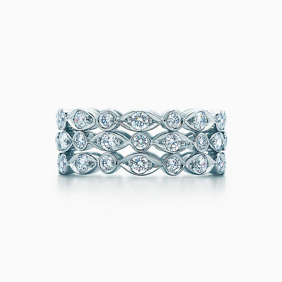 Tiffany Jazz™ three-row ring in platinum with diamonds.