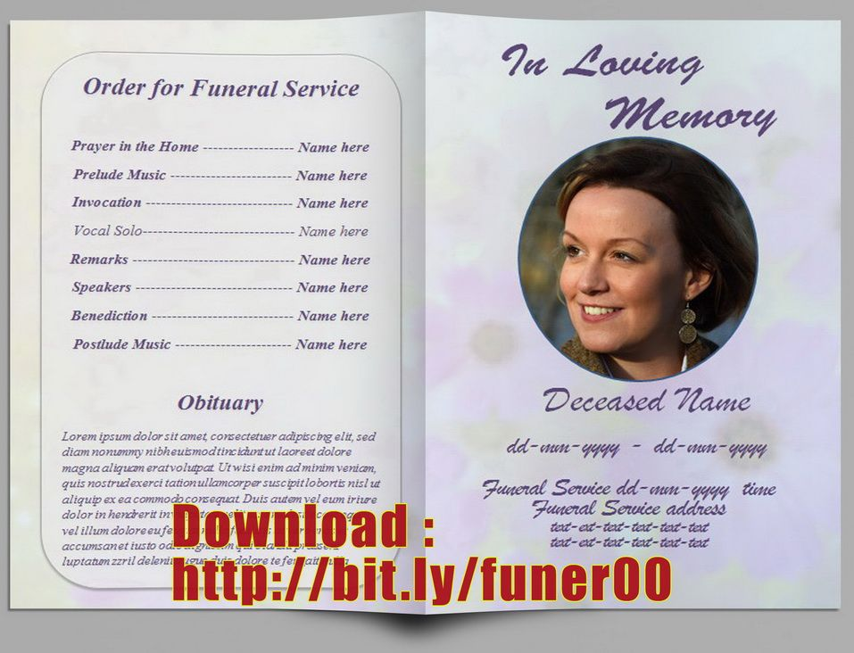 Free Editable Memorial Service Program Template   - funeral service template word