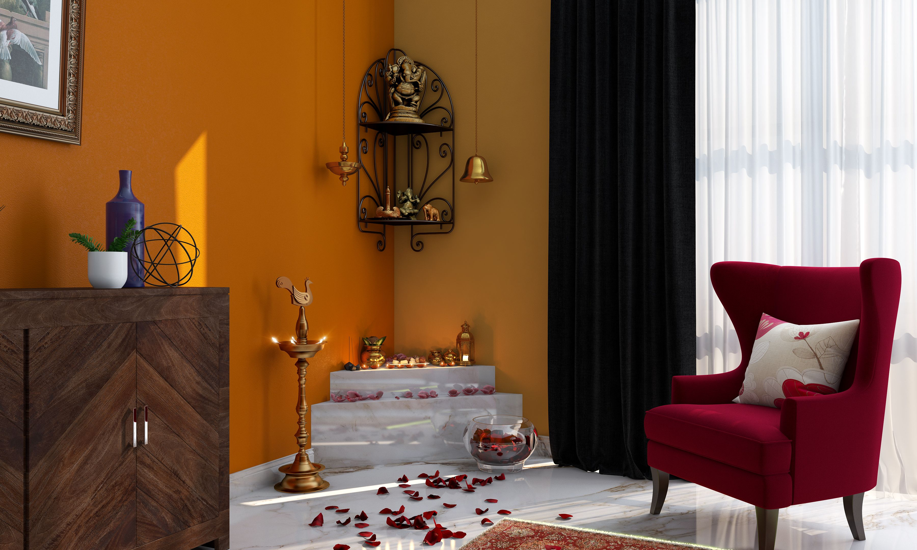 7 Enchanting Colour Ideas For Pooja Corners With Images Pooja