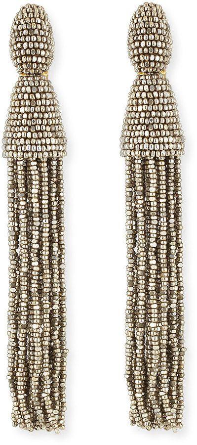 a7ace4d683765 Oscar de la Renta Long Beaded Tassel Earrings
