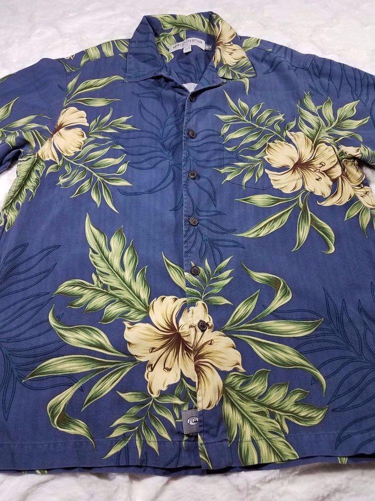 Mens Quick Silver Edition Blue Floral Silk Hawaiian Button