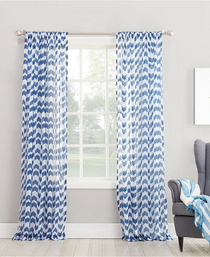 Lichtenberg No 918 Silvia 50 X 84 Chevron Print Sheer Rod Pocket Curtain Panel