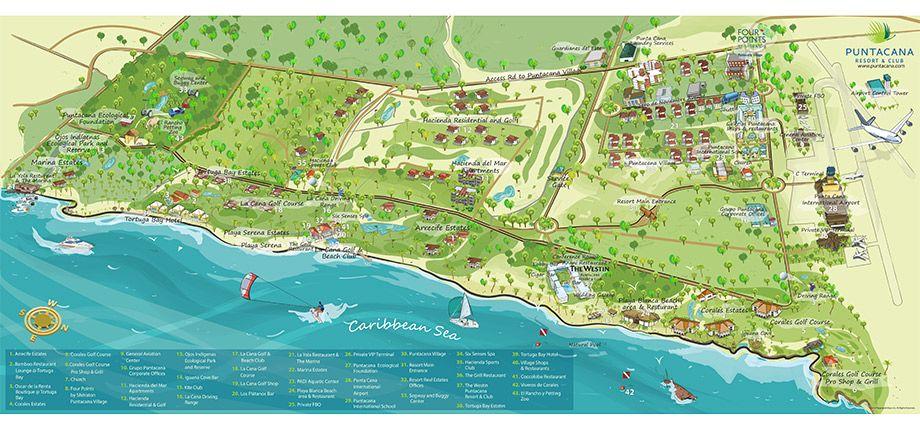 Puntacana Resort  Club resort map Punta cana Dominican Republic