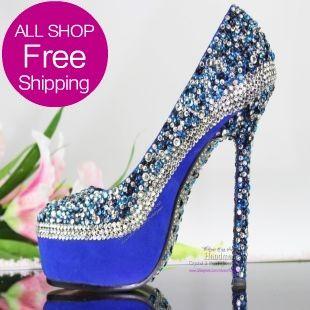 unique design Ladies Loyal Blue Wedding Shoes