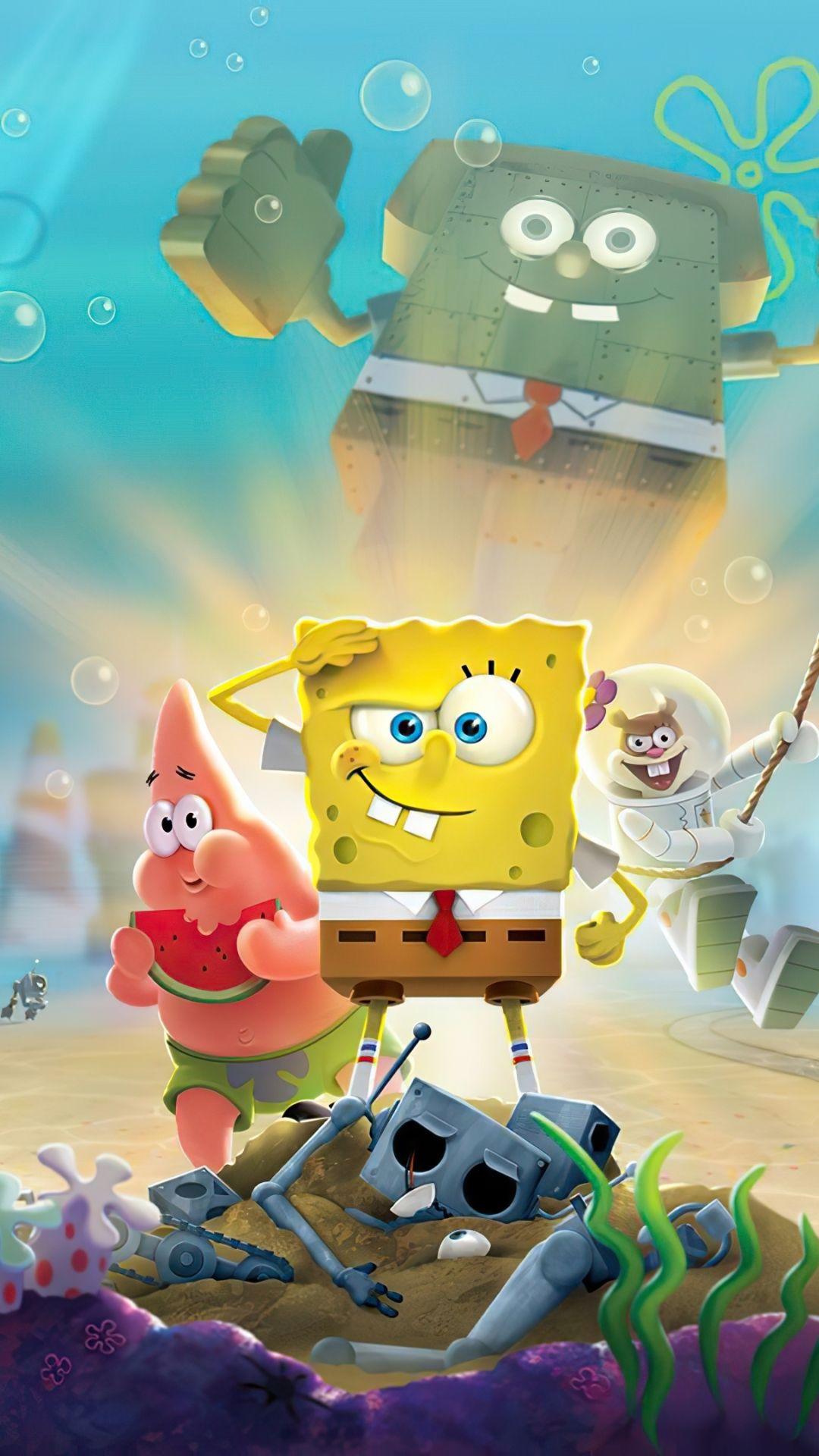 SpongeBob SquarePants, underwater, cartoon, 1080x1920 wallpaper