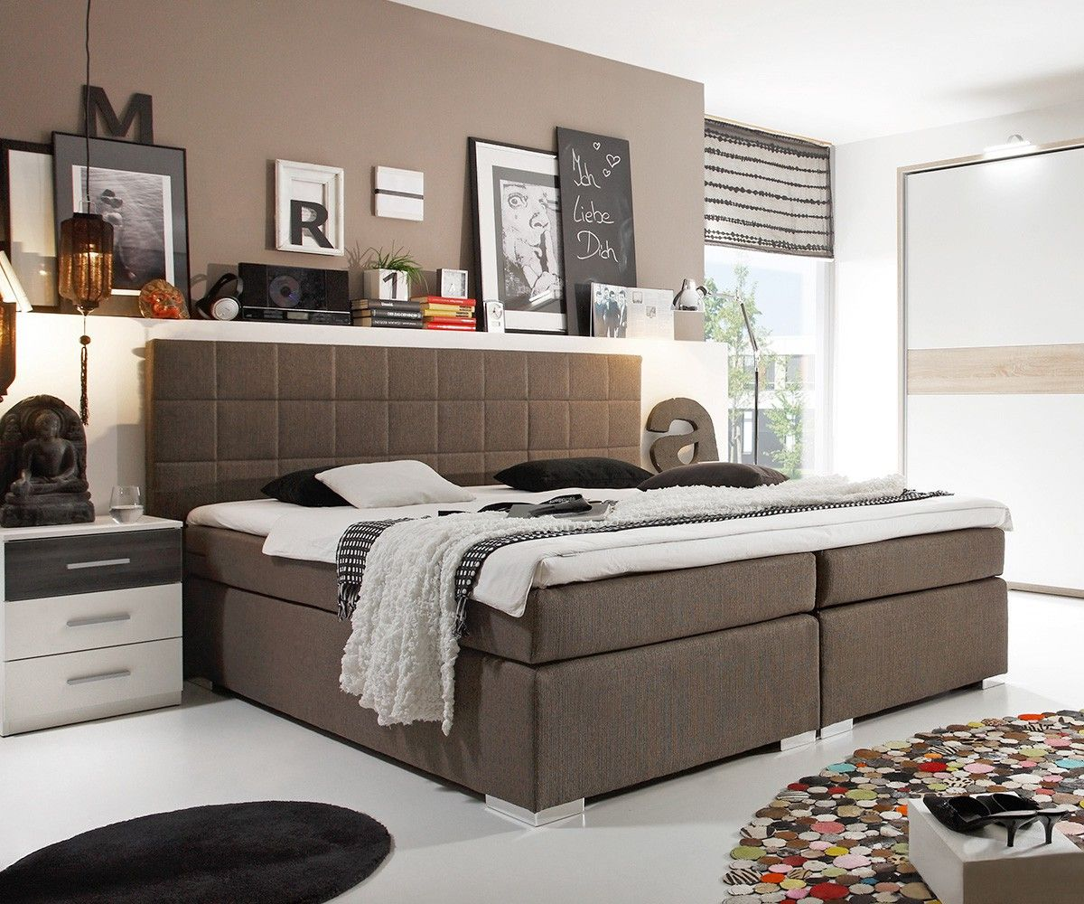boxspringbett mave 180x200 cm grau braun schlafzimmer. Black Bedroom Furniture Sets. Home Design Ideas