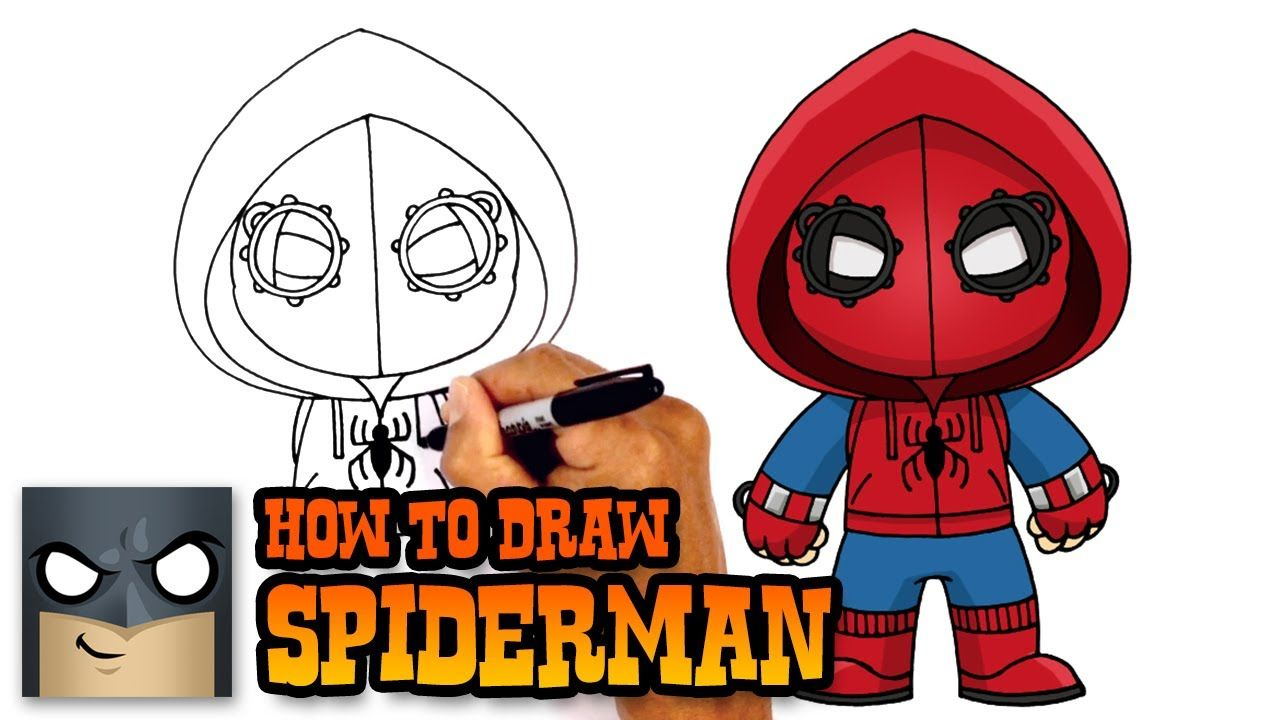How To Draw Spiderman Homecoming Drawing Tutorial Spiderman Drawing Drawing Images For Kids Spiderman Homecoming Drawing
