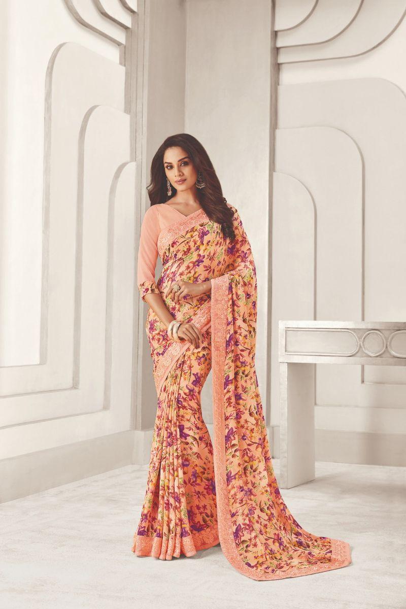 Details about  /New Designer Georgette with Blouse Piece Saree//Sari Multi color