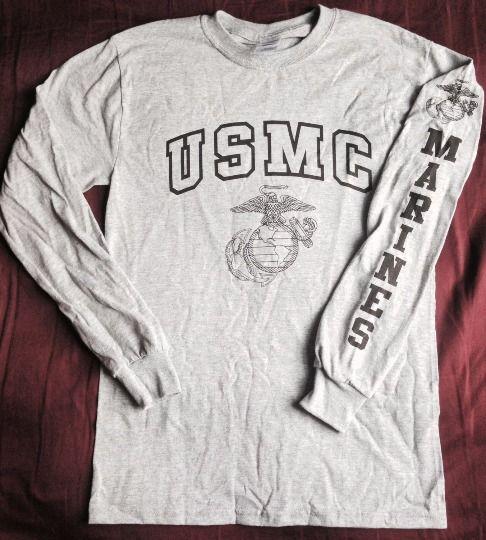 Nwot Gray Marine Corps Pt Long Sleeve T Shirt Usmc Ega Tee Usmc Shirts Marine Shirts Usmc Clothing
