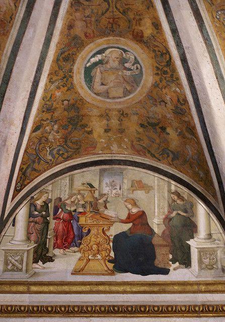 Rom, Santa Maria del Popolo, Cappella Basso della Rovere, Madonna mit Engeln, Fresko der Pinturrichio-Schule (Madonna with angels, fresco of...