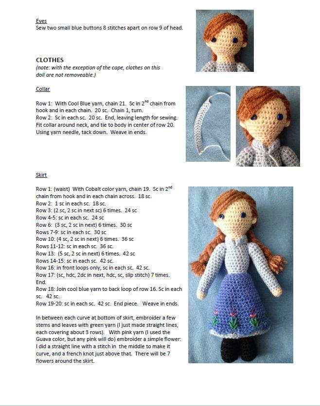 PATRON GRATIS ANNA (FROZEN) AMIGURUMI 9499 | amigurumi doll en 2018 ...